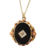 Antique Tri Color 10K Gold Onyx , Diamond Accent, Pendant Necklace With Vermeil Chain
