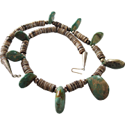 """Bold Native American Turquoise, Heishi and Sterling 21"""" Necklace"""