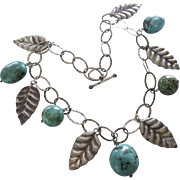 Vintage Chunky Sterling Leaf and Turquoise Bead Necklace