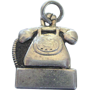 Vintage Sterling Bell Telephone Company Rotary Dial Phone Charm