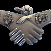 Vintage Sterling Bell Telephone Handshake Charm