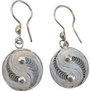 Sterling Silver Yin Yang Dangle Pierced Earrings