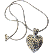 """Modernist Medieval Sterling Heart Pendant With Sterling 18"""" Chain"""