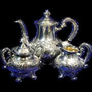 SALE Reed & Barton Regent Hand Chased Silverplate Tea Service Pattern 5600C