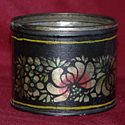 SALE Vintage Painted Black Stencil Tole Cup - Signed