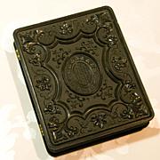 SALE Beautiful Large Gutta Percha Case 1/4 Plate Union Case - Tintype Daguerreotype