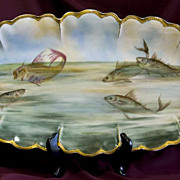 Huge Hand-Painted Haviland Limoges Fish Platter - 24 inches