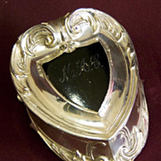 SALE Art Nouveau Silverplate Footed Heart Shaped Jewelry or Trinket Box