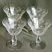 Set of Four (4) Heather Fostoria Low Sherbets or Champagnes