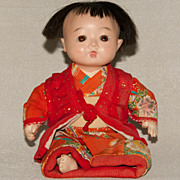 "SALE Vintage Ichimatsu Gofun Baby Doll - 9"""
