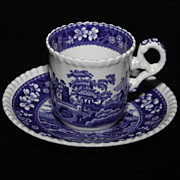 Spode Blue Tower Demitasse Cup and Saucer