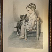 SALE Original 'Sympathy' Print by Bessie Pease Gutmann - Little Boy Sitting in Corner with Pup