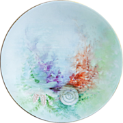 Set of Five Limoges Jean Pouyat Plates - Gorgeous Sea or Ocean Theme - Hand painted by artist