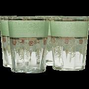 Set of Four Enameled Water or Lemonade Glasses - Mint Green