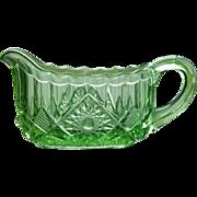 EAPG Green Glass Creamer - Pattern Glass