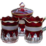 SALE McKee EAPG Glass Ruby Stained Gothic or Spearpoint Creamer, Sugar and Spooner - RARE