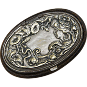SALE Art Nouveau Leather Coin Purse with Figural Lid - Lady with Flowing Hair among the Mornin