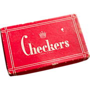 SALE Wooden Crown Checkers in Box by The Embossing Company, Albany NY - No. 3406