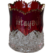 Ruby Stain 'Mayville, N.D' Toothpick Holder with Gold Edging