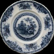 SALE Yeddow Flow Blue Dinner Plate by Royal Staffordshire Pottery - Burslem, England