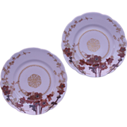 Pair of Haviland Luncheon or Salad Plates from Limoges, France - Red Poppies and Golds