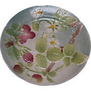 SALE French Majolica Strawberry Plate by Keller and Gerin