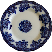 SALE Gorgeous Flow Blue Plate in Waldorf Pattern by New Wharf Pottery
