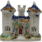 Victorian Staffordshire Castle or Church - Cobalt Blue, Reds and Greens