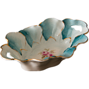 SALE Gorgeous Hand Painted Porcelain Teal and White Pin Dish - Rose Motif with Gold Accents