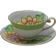 Vintage Water Lily Tea Cup and Saucer Edged in Gold - Pinks, Greens, Yellows - Japan