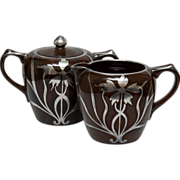 SALE Mottled Brown Creamer and Sugar with Silver Overlay - Art Nouveau Style