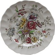 Johnson Bros Sheraton Dinner Plate - Floral Center
