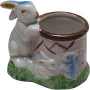 Vintage Momma Rabbit and Baby Bunnies Toothpick Holder - Japan