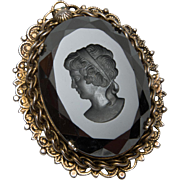 Large Black Glass Cameo Intaglio Pin or Pendant