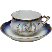 SALE Gorgeous Antique Flow Blue Cup and Saucer with Lady and Cherub