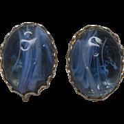 Vintage Miriam Haskell Blue Art Glass Earrings