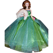 SALE 30th Anniversary Porcelain Midge in Green Prom gown white fur gorgeous