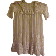 """SALE Antique 20"""" gathered eggshell color lace silk dress for bisque doll"""