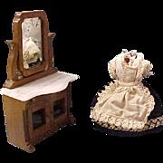 "3 1/2"" Antique Dollhouse Doll Dress on Celluloid torso"
