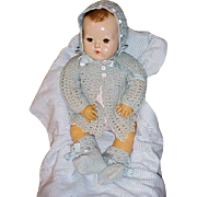 "Vintage blue 4 pc Baby Doll Sweater Set for 20"" Dydee of 24"" Horsman"