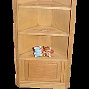 """SALE Corner light wood hutch miniature 7 1/2"""" tall"""