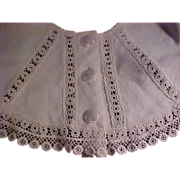 SALE Vintage white bib collar or cape with handmade lace trim for large bisque doll