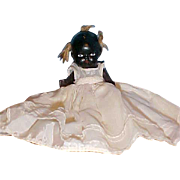 """SALE 4"""" All bisque black strung doll painted eyes Christening dress"""