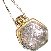 SALE Old vintage Avon glass and gold tone perfume purse with chain