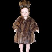 SALE Stunning rich dark genuine mink coat for Cissy or Miss Revlon with muff