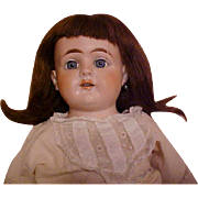 """SOLD 28"""" ANTIQUE DOLL leather body, bisque head marked W in an early Heubach Horseshoe Ma"""