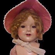 Red white gingham check bonnet for little girl vintage