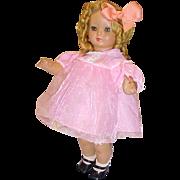 "SALE 17"" plastic celluloid doll Italy 1970 Furga Shirley Temple wig pretty face"