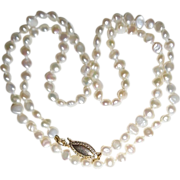 REDUCED Vintage Flat Coin Cultured Freshwater Knotted Pearls 14K clasp