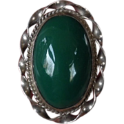 REDUCED 1950's Taxco Mexican Sterling Green Onyx Huge Adjustable Ring